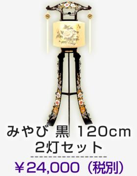 みやび黒120cm2灯セット